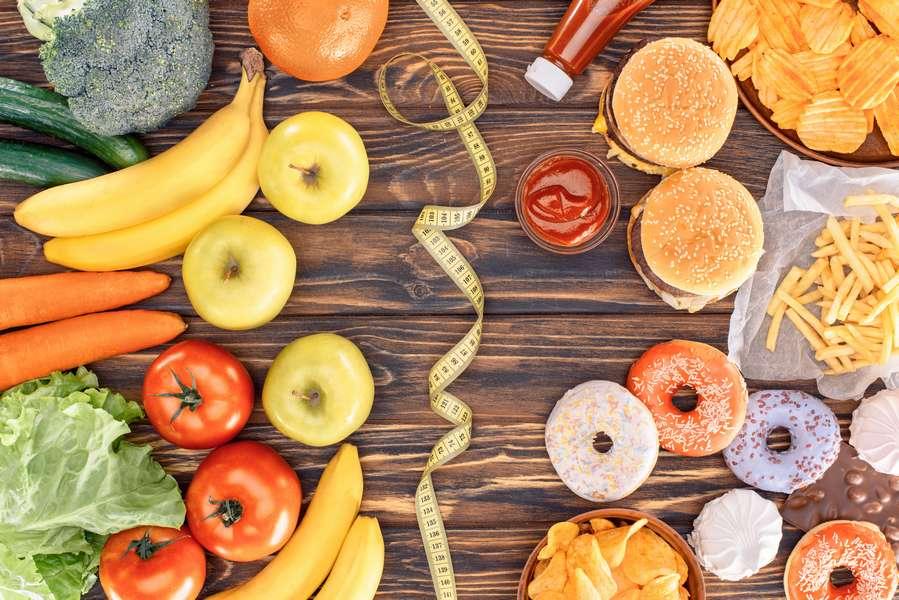 nourriture saine vs junk food